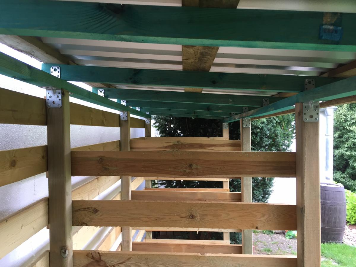 Bekannt Einen stabilen Brennholzunterstand (Brennholzschuppen) gut und JU57